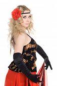 stock photo of bolero  - Lovely girl dances energetic Spanish dance - JPG