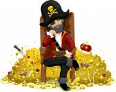 stock photo of pirate hat  - Illustration of a Pirate Guarding a Huge Pile of Gold - JPG