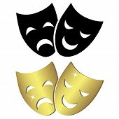 pic of pantomime  - Theater masks in black and gold isolated on white background - JPG