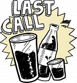 image of last day work  - Doodle style las call alcohol drinking sketch in vector format - JPG