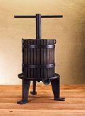 picture of wine-press  - Traditional manual grape pressing utensil used for vinification - JPG