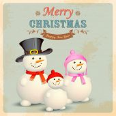 illustration of Snowman Family in Retro Christmas Background
