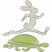 An image of a tortoise and hare racing.