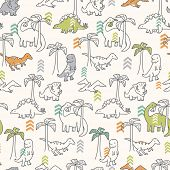 stock photo of pterodactyl  - Dinosaur Pattern - JPG