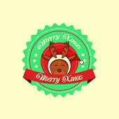 stock photo of rudolph  - Vintage christmas label with Rudolph the red - JPG