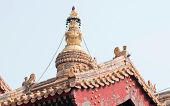 image of lamas  - Pavilion roof in Yonghe Temple also known as Palace of Peace and Harmony Lama Temple or simply Lama Temple in Beijing China - JPG