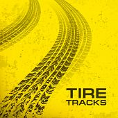 picture of dirt-bike  - Detail black tire tracks on yellow vector illustration - JPG