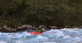 stock photo of waterspout  - Kayaking in the summer on the Soca river Slovenia - JPG