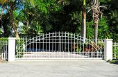 image of gate  - Sliding Residential White Metal Security Gate System - JPG