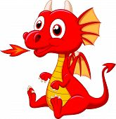 stock photo of dragon head  - Vector illustration of Cute baby dragon cartoon - JPG