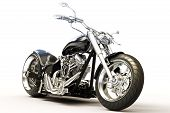 stock photo of exhaust pipes  - Custom black motorcycle on a white background - JPG