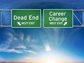 stock photo of retirement age  - Road signs showing your choice in career path - JPG