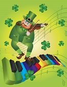 image of rainbow piano  - St Patricks Day Leprechaun Playing Violin Dancing on Rainbow Colors Piano Wavy Keyboard Shamrock Background Illustration - JPG