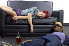 picture of underage  - drunken college friends passed out on a couch - JPG