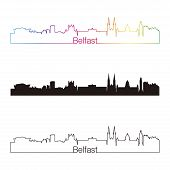 Belfast Skyline Linear Style With Rainbow