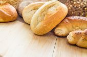 picture of bread rolls  - Different bakery products including bread rolls with grain - JPG