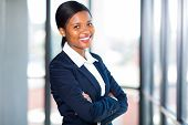 beautiful african american businesswoman with arms folded