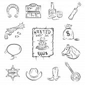 Wild West Icons. A collection of stylish vector images on the theme of the Wild West