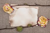 Dry Roses And Aged Paper On The Burlap