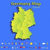picture of political map  - Germany map infographic political map individual states blue green card paper 3D raster - JPG