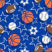 Sports ball seamless pattern .