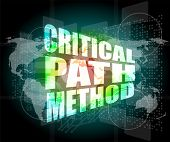 Critical Path Method Words On Digital Screen With World Map