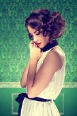 Gorgeous Woman Vintage Toned Image In Retro Room
