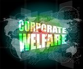 Corporate Welfare Word On Business Digital Screen