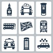 stock photo of postbox  - Vector Great Britain London icons set over white - JPG