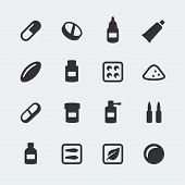 stock photo of blisters  - Vector medications mini icons set on grey background - JPG