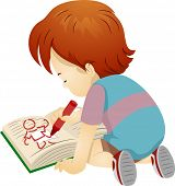 Illustration of a Boy Using a Crayon to Draw on a Book