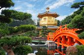 picture of hong kong bridge  - Chinese pavilion at the park of Hong Kong - JPG
