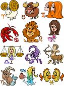 stock photo of pisces  - Cartoon Illustration of All Horoscope Zodiac Signs Set - JPG