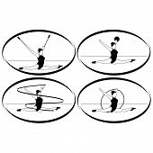 Rhythmic gymnastics. Ribbon, ball, hoop, mace
