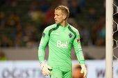 CARSON, CA - APRIL 12: Vancouver Whitecaps GK David Ousted #1 during the MLS game between the Los An