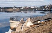 pic of uglich  - Embankment of the river Volga in the spring - JPG