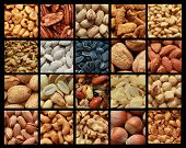 Collage showing different kind of nuts with or without shell
