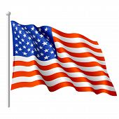stock photo of american flags  - The vector illustration of flying flag of the USA - JPG