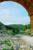 picture of aqueduct  - The Ancient Roman Aqueduct Pont du Gard - JPG