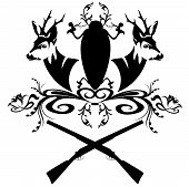 pic of deer head  - hunting emblem with guns and fallow deer heads  - JPG