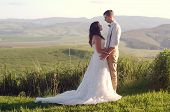 stock photo of natal  - Bride and groom outside garden wedding with African Natal Midlands mountain scenery background - JPG