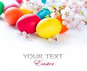 Easter. Colorful Easter eggs with spring blossom flowers isolated over white background. Colored Egg