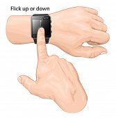 Vector illustration of smart watch gesture. Gesture flick up or down.