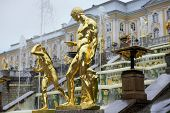 image of samson  - gold plated sculptures by fountains Grand cascade in Pertergof, Saint-Petersburg, Russia