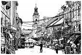 stock photo of zakarpattia  - digital sketch vector black and white illustration of Uzhgorod cityscape - JPG