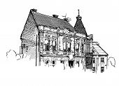 picture of zakarpattia  - digital sketch vector black and white illustration of Uzhgorod cityscape - JPG