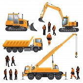 image of construction machine  - Construction machines and workers - JPG