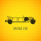 pic of limousine  - Retro limousine vintage car with shadow isolated on triangle geometric texture - JPG