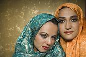foto of burka  - Middle Eastern women wearing head scarves - JPG