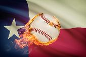 stock photo of texans  - Baseball ball with flag on background series  - JPG